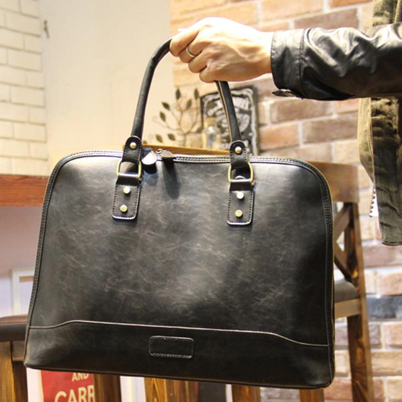 ФОТО KIBDREAM Hot sale Business bag Laptop Briefcase man bags Men's handbags with briefcase Brown Men messenger bags