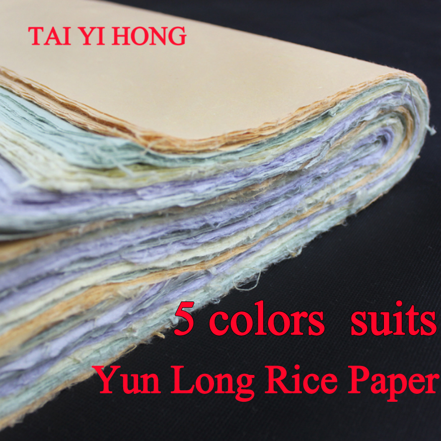New 5 Colors suits Chinese Yunlong Xuan Paper For Calligraphy or Painting Handmade Rice paper free shipping 100 pieces lot 7 colors hand made chinese rice paper for painting and decoupage 64 135cm xuan paper