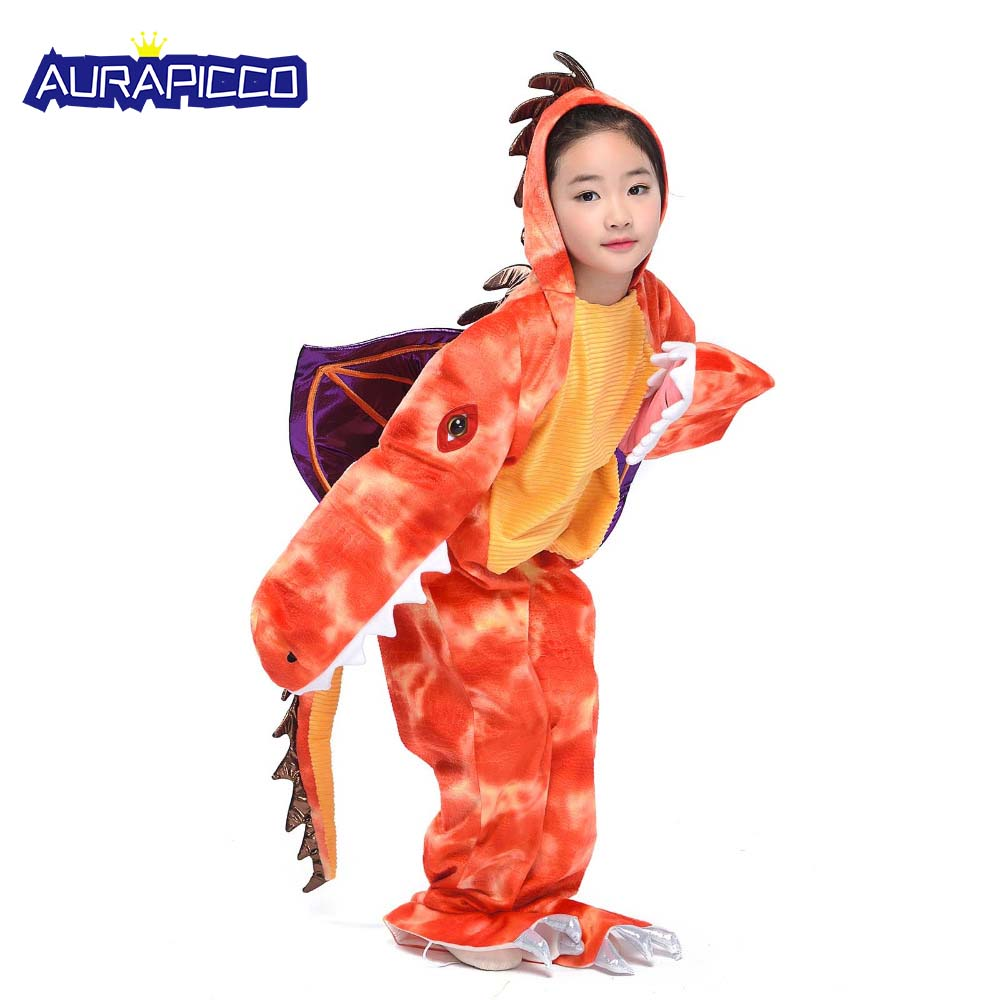 Kids Fire Dragon Costume Child Medieval Red Dinosaur Jumpsuit Halloween Party Fancy Dress Pokemon Charizard Cosplay Costume