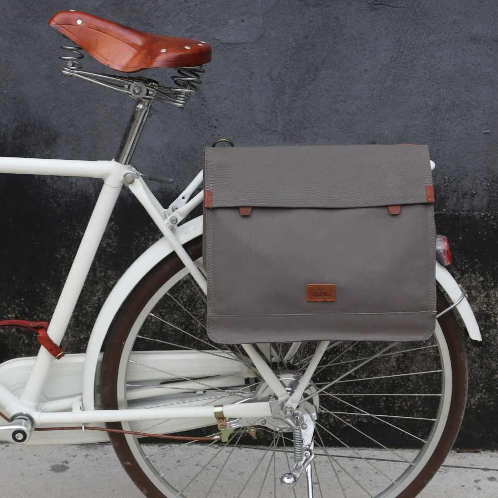 3a6038d23ed1 Tourbon Vintage Canvas Bike Rear Seat Pannier Bag Bicycle Carrier Messenger  Bags for Cycling Water Repellent