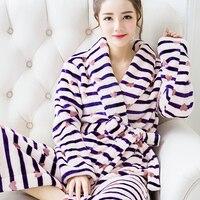Hot Sale Winter Lady Pajamas Bath Robe Sleepwear Womens Robes Coral Velvet Bathrobes Women Cartoon Floral