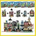 1320 Unids 5 en 1 kit de construcción Modelo compatible con lego mini ciudad Creadores Cafe Esquina Creadores Creador de Bomberos del ayuntamiento