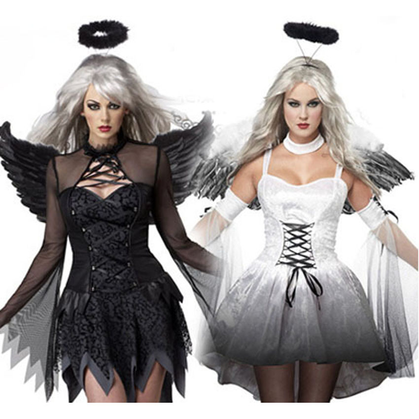 Carnival Lady's Scary Halloween Party Cosplay Costumes Print Angle Wings+dress+headwear Set for Women Fancy Bride Dress