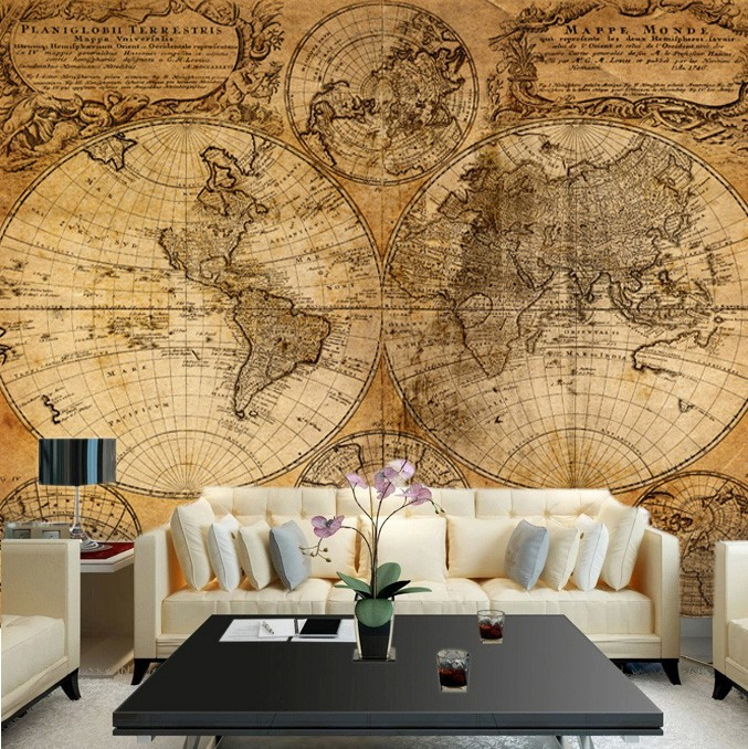 Free shipping ktv hotel restaurant retro personality large mural free shipping ktv hotel restaurant retro personality large mural backdrop nautical chart world map wallpaper custom size in wallpapers from home improvement gumiabroncs Images