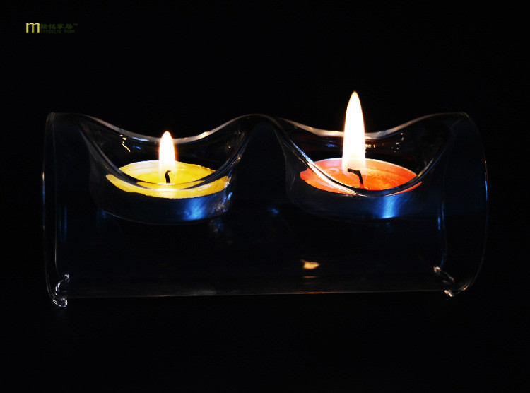 1PC 12.5X6CM European Crystal Glass Candle Holder transparent round tube romantic candlelight dinner candlestick JY 1177