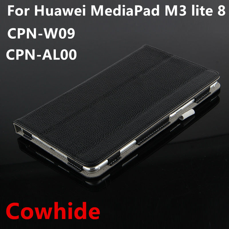 Case Cowhide For Huawei MediaPad M3 lite 8 Protective Smart Cover Genuine Leather M3 Yonth lite8 8.0 CPN-W09 AL00 Tablet Cases case for huawei mediapad m3 lite 8 case cover m3 lite 8 0 inch leather protective protector cpn l09 cpn w09 cpn al00 tablet case