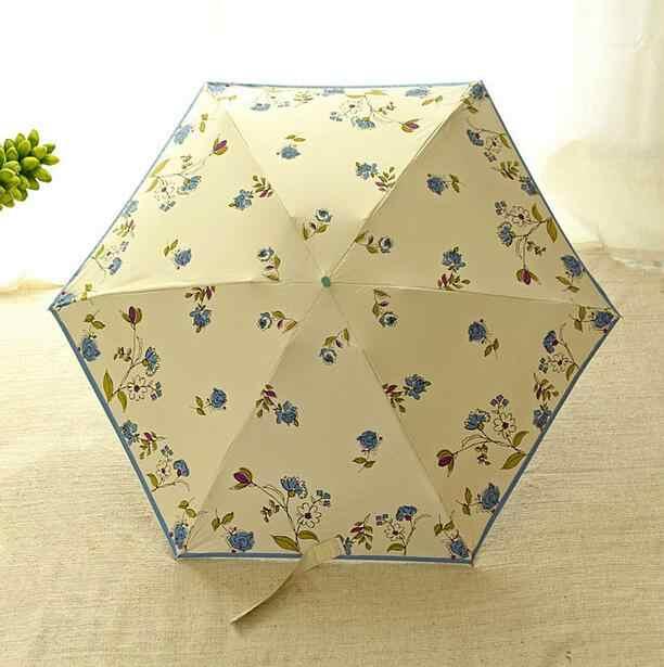 Супер мини-светильник пятискладной Зонт солнечный и дождливый UPF50 + высокое качество зонтики с принтами цветов 53 см 6K