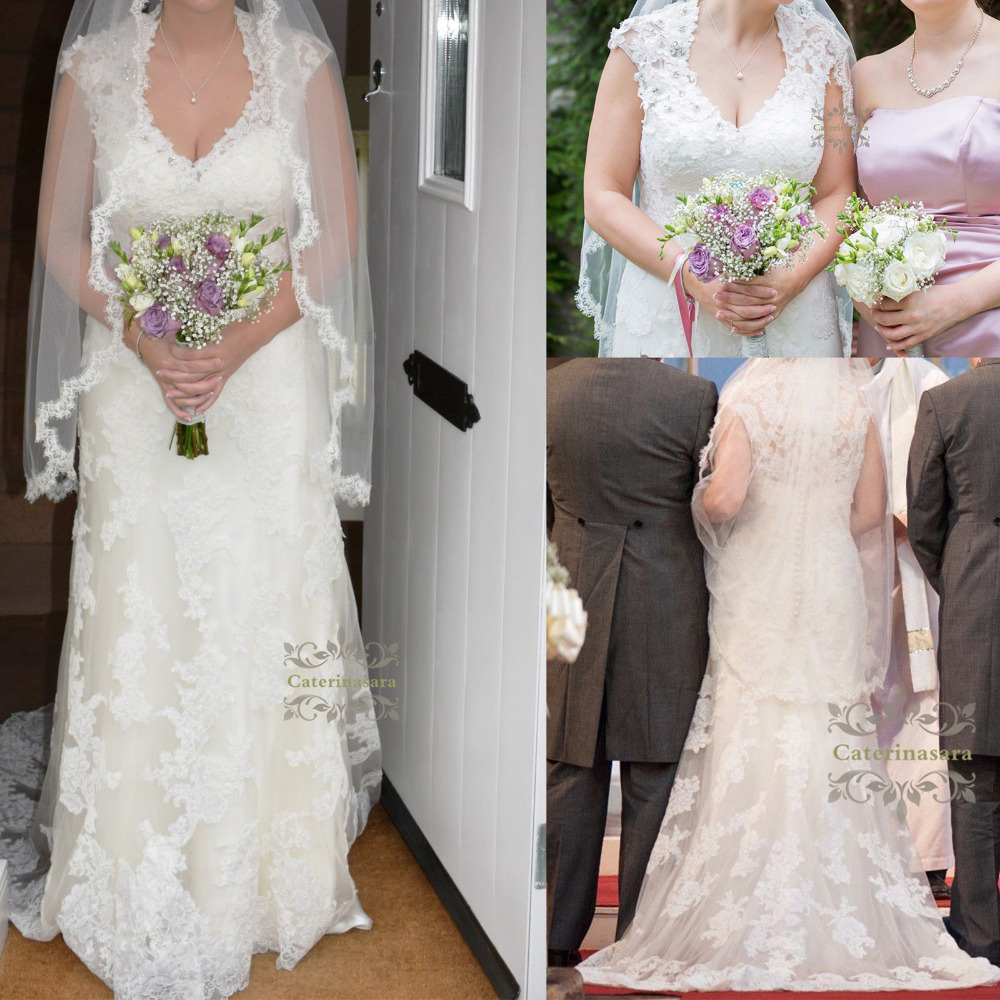 Womens 2019 A Line Wedding Dress Plus Size V-neckline Bride Gown With Lace And Crystals For Girl Chapel Train Illusion Back