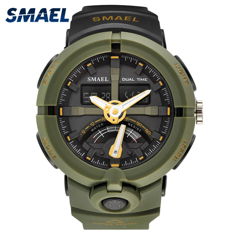 Military Electronics Hour Army Green Rubber Strap Watches 1637  Digital SHOCK Watch