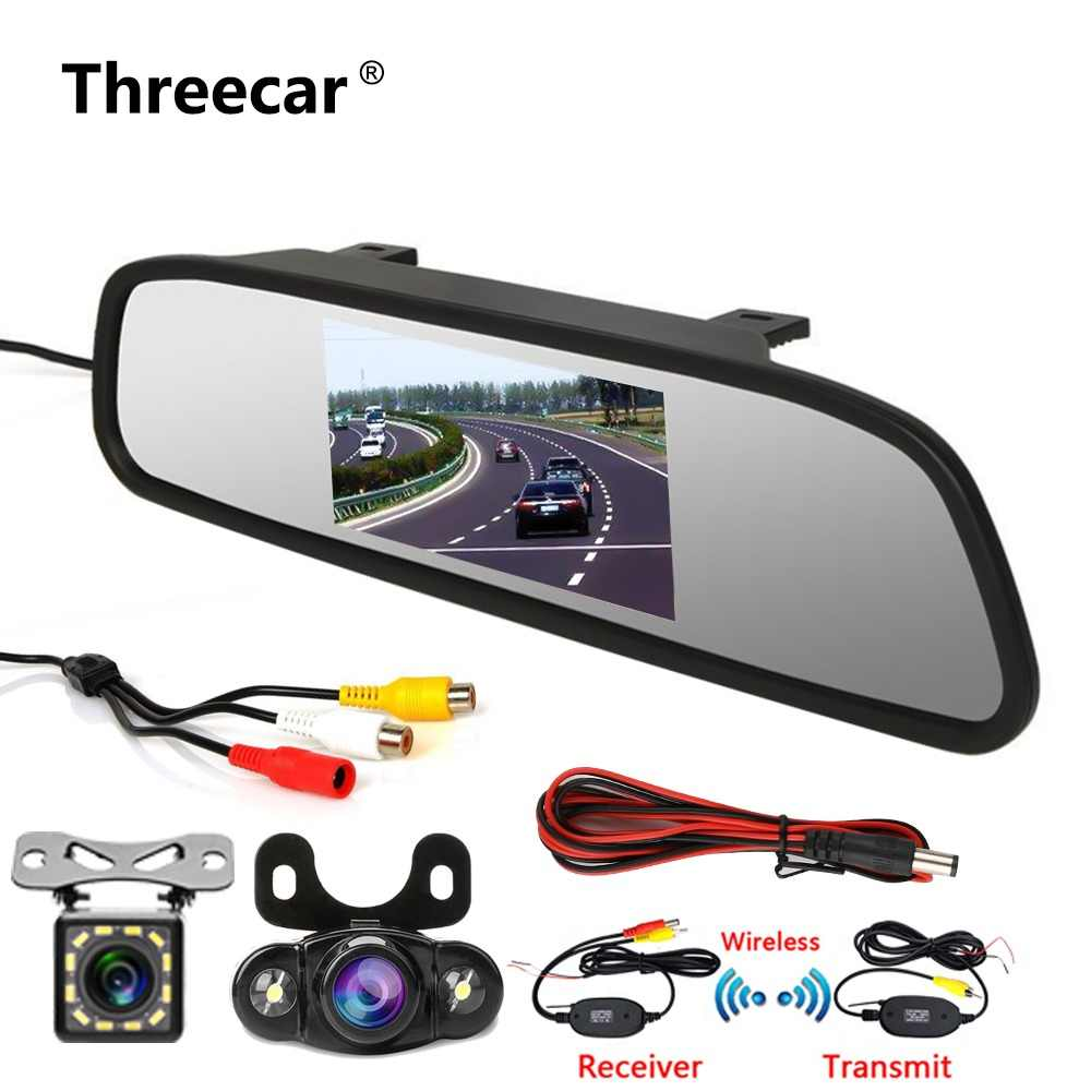 "4.3"" Car Rearview Mirror Monitor Rear View Camera TFT-CCD Video Auto Parking Kit 4 LED Night Vision Reversing Car-styling"