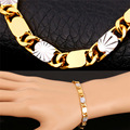 Two Tone Gold Plated Chain Link Bracelets For Men's gold Plated New For Men Bracelets & Bangles For Christmas Gift H241