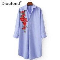 Dioufond Stickerei Blume Frühling Frauen Blusen Drei Viertel Sleeve Blau Shirts Drehen Unten Kragen Plus Größe Neue Mode Shirts