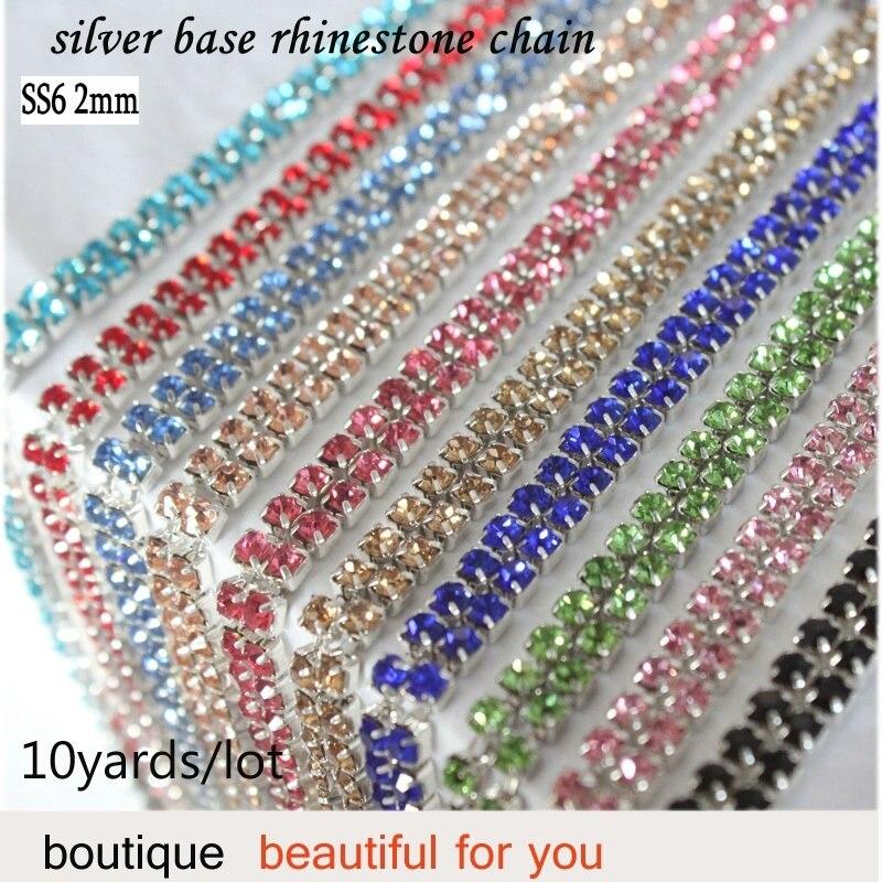 QIAO coser rhinestone cadenas 10 yardas/lote de cristal brillante 2mm multicolor colores SS6 de plata base cerca de cristal de cadena de diamantes de imitación