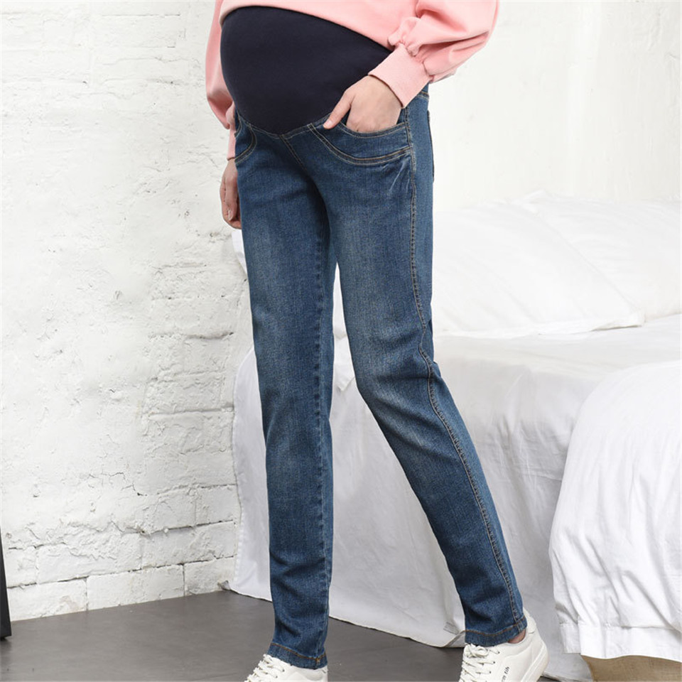 4XL Elastic Maternity Belly Jeans Autumn Spring Maternity Pants For Pregnant Women Pregnancy Clothes Embarazada Pencil Trousers elastic waist stretch denim maternity jeans for pregnant women autumn spring pants clothes for pregnancy women pencil trousers