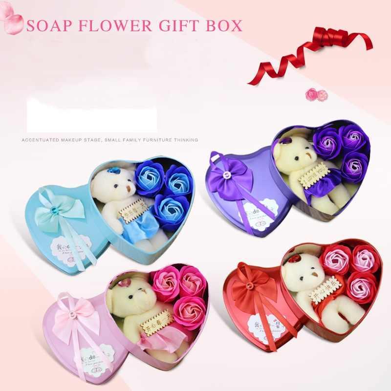 OMHXFC ขายส่งแฟชั่น Elegant Fine สีแดงสีชมพูสีม่วงสบู่หัวใจดอกไม้อุปกรณ์เสริมแสดงของขวัญกล่องบรรจุ GB13