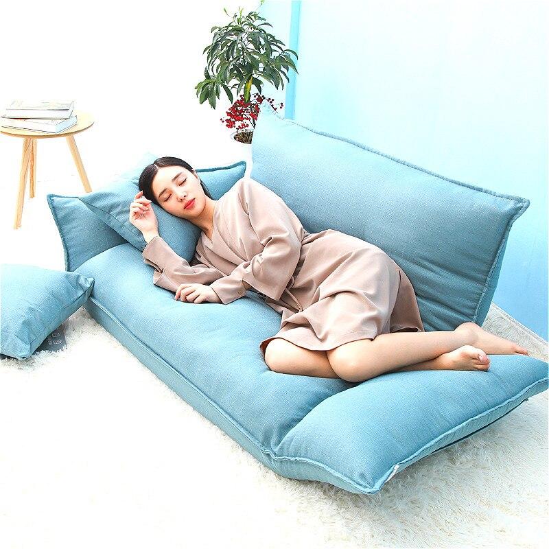 YN50 Coton tissu Étage mini Canapé Lit 5 Position Réglable Double Canapé Meubles Salon Pliant Canapé chaise D'ordinateur