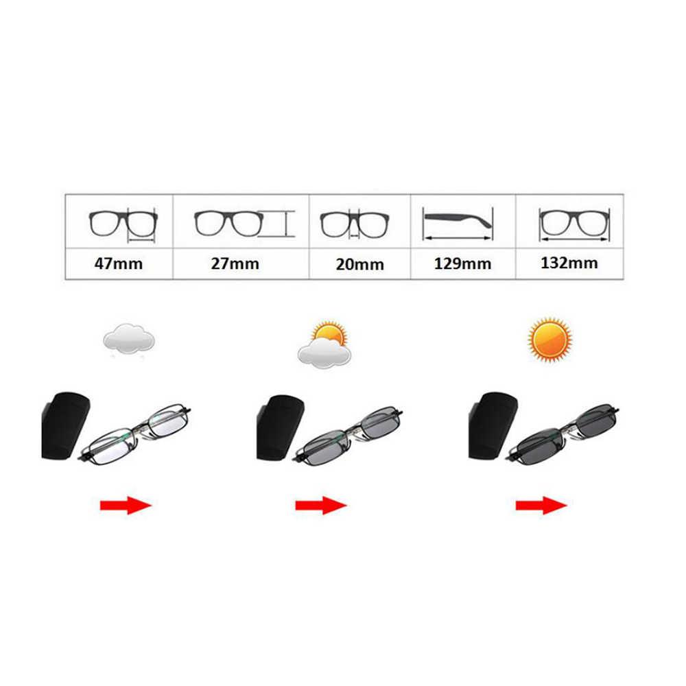 Geçiş fotokromik katlanır optik miyopi hipermetrop okuma gözlüğü + Rx-Rx özel mukavemet Mini cep okuyucu kılıf Fo