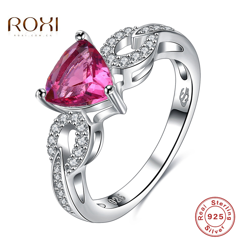 9d90dc299811 2017 ROXI 925 Sterling Silver Rings Pink Heart-shape Crystal Luxury Jewelry  For Romantic Mother s Gift Weeding Fashion Jewelry