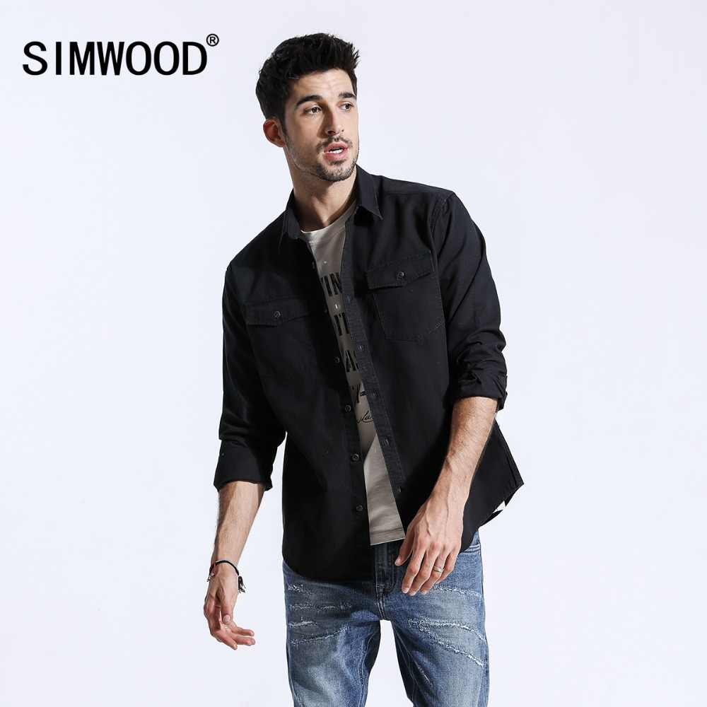 SIMWOOD 2019 camisas de hombre marca Carta bordada de manga larga de algodón Tops blusa ajustada Fit camisa para hombre camisa masculina 180388
