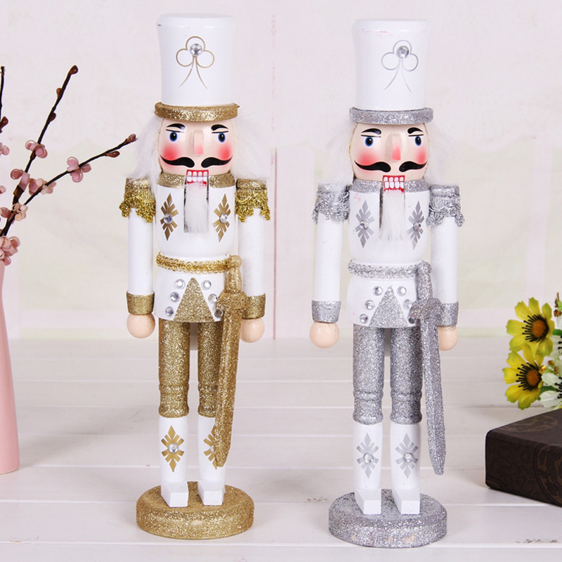 30cm Nutcracker Character Christmas Wooden palace soldier home decoration Silver Golden hand painted