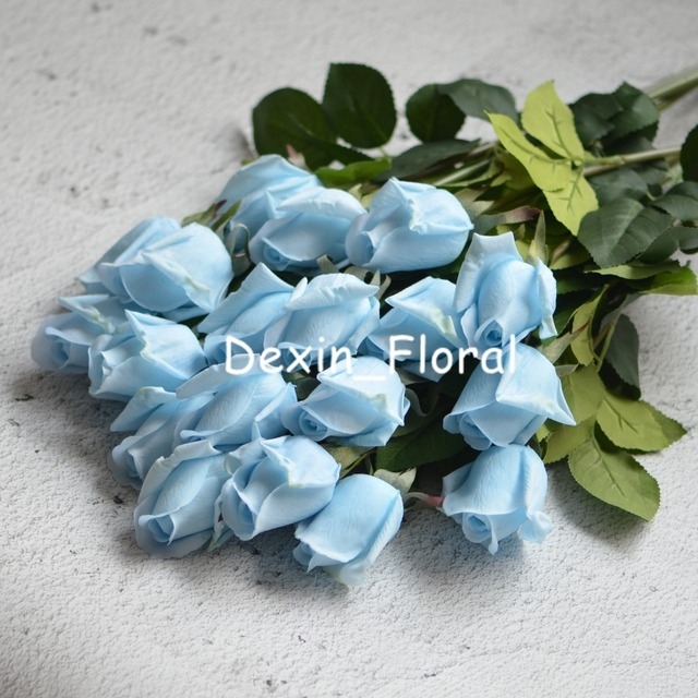 10 Stems Pale Blue Rose Buds Real Touch Roses Diy Silk Bridal Bouquets Wedding Centerpieces Home