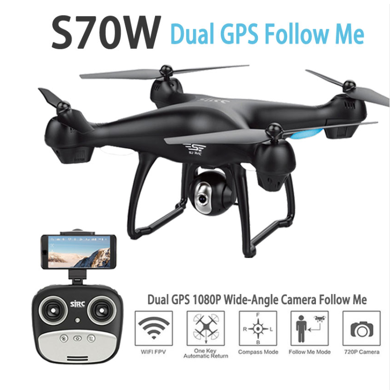 SJ/RC S70W 2.4GHz Selfie RC Drone With Camera HD 1080P Wifi FPV Altitude Hold G-sensor Follow Me Mode GPS Drone RC Quadcopter rc airplanes s70w rc drone auto follow altitude hold 720p wifi camera gps return remote control fpv rc quadcopter drone
