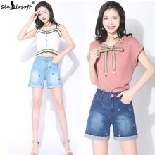 купить Women Korean Vintage Jeans Shorts Summer Flower Embroidery Curling Loose Chic Denim Shorts High Waist Short Jeans With Pocket по цене 1028.91 рублей
