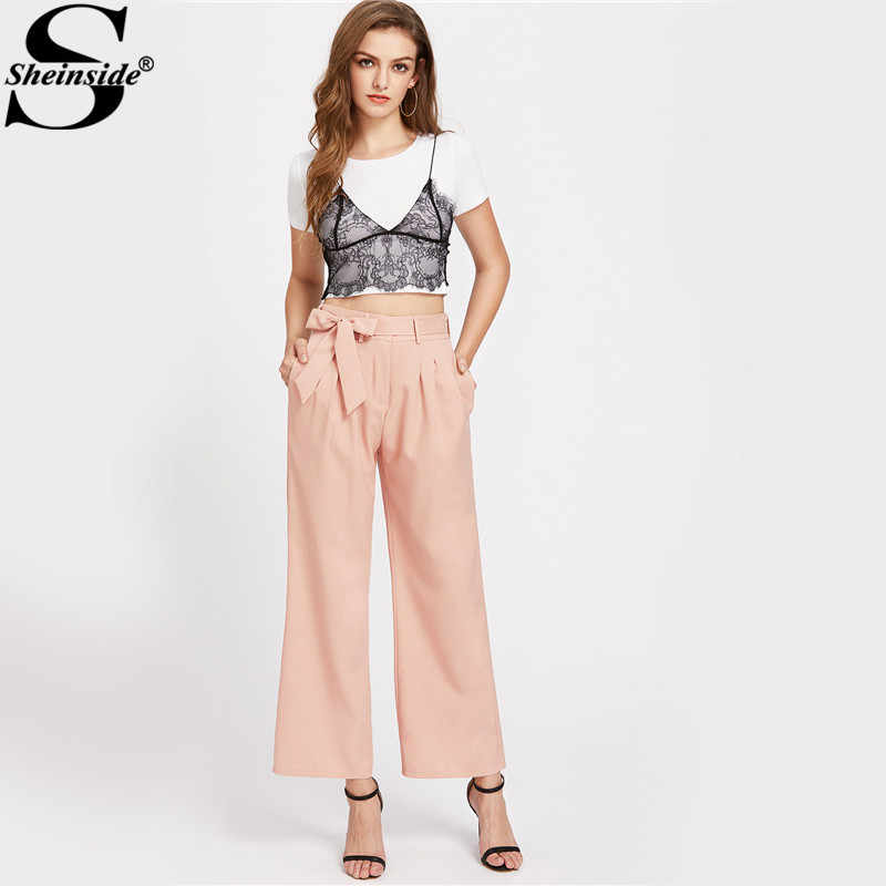 ca8e916e28 ... Sheinside Pink Elegant Wide Leg Palazzo Pant Women Self Bow Tie High  Waist Belted Pants Summer