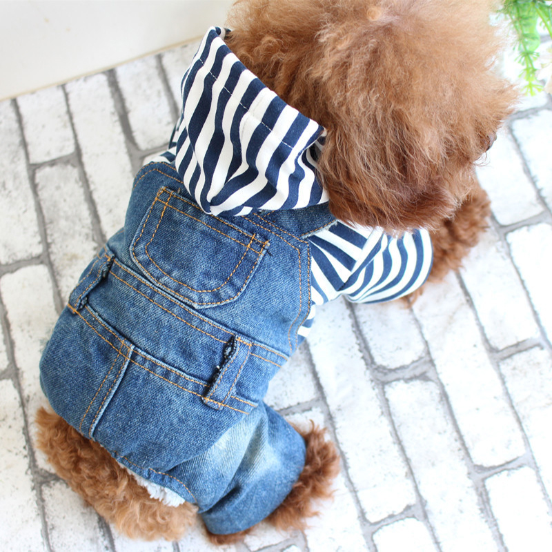 Newest Cute Hooded Clothes Fashion Dog Clothes Stripes Pattern Denim Jacket For Yorkshire Chihuahua Teddy Dogs Cats Coat Jeans in Dog Coats Jackets from Home Garden