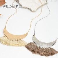 WILD FREE Women Vintage Bohemia Beige Brown Thread Tassel Pendant Necklace Antique Gold Silver Pendant Collar