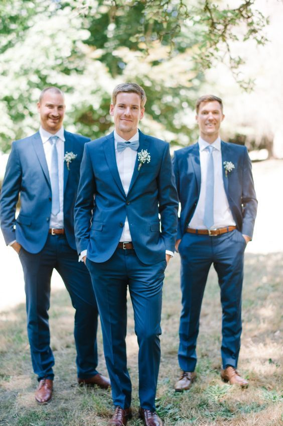 Tailor Made Navy Blue Groom Tuxedos Slim Fit Groomsman Suit Mens ...