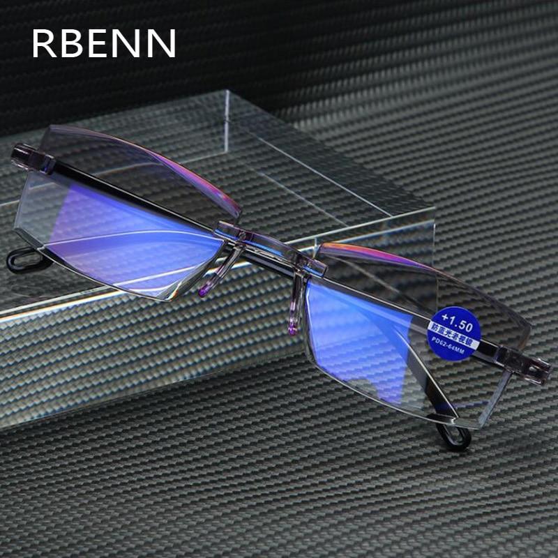 RBENN Reading Glasses Computer Anti-Blue-Light Rimless Ultralight Presbyopia Women