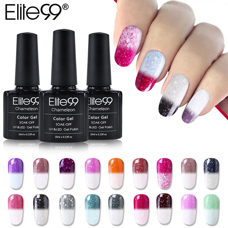 Elite99 Recién Llegado 10 ml Nevado Térmico Camaleón Cambio de temperatura Mood Color Gel Polish DIY Nail Art UV Gel Polish