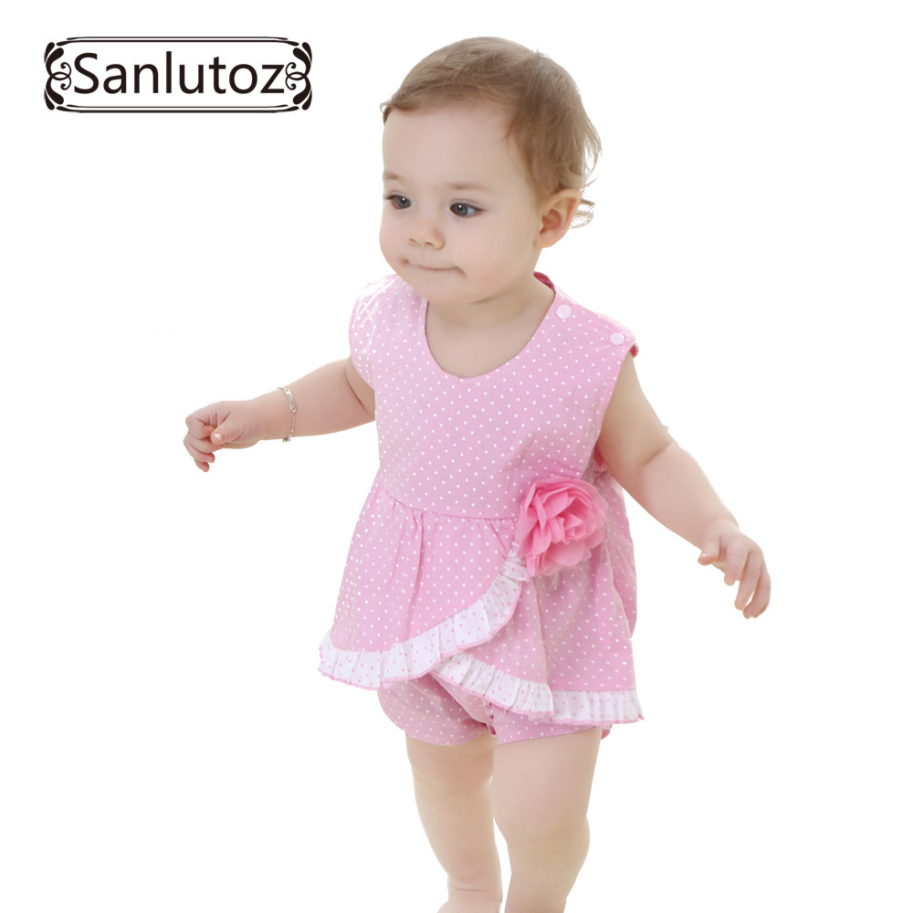 2015 Summer Sleeveless Baby Romper Polka Dot Jumpsuit Baby Cotton Clothing Summer Ruffle Flower [DonutBaby] RS001