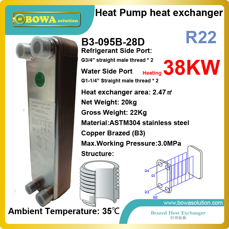 38KW (R22) condenser can work together with 4-way reverse valve and EEV to get 3-in-1 heat pump water heater & air conditioners 43kw r22 heating capacity exchanger is installed in air source heat pump water heater or 3 in 1 heat pump air conditioners