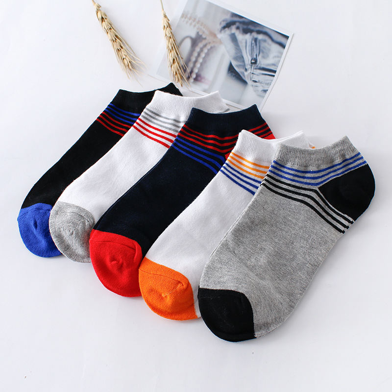 10 Pairs/ Lot Tide Mens Summer Cotton Sock Quality Colorful Stripes Invisible Shallow Mouth Spring Autumn Male Boat Sock Meias