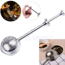 Ball Push Tea Infuser Loose Leaf Herbal Teaspoon Strainer Filter Diffuser Free shipping-Y102