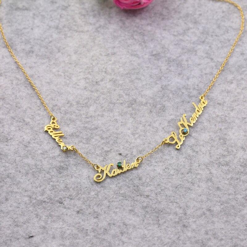 Trois plaque signalétique collier personnalisé 3 pendentifs pierre personnalisé collier mode femmes bijoux avec pierre de naissance