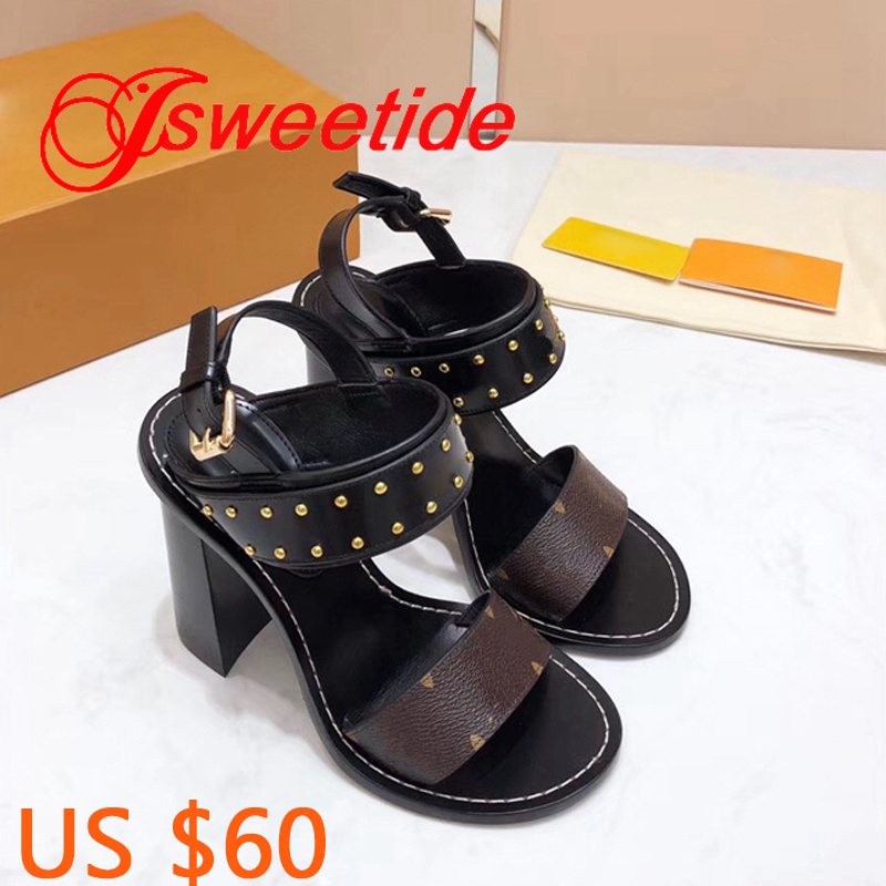 Fashion High Quality Rivets Ladies Sandals Gladiator Buckle Strap Woman Thick heel Brand Genuine Leather Summer