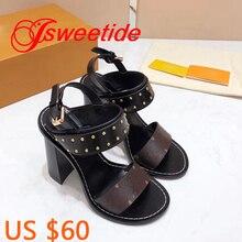 Модные высококачественные женские сандалии с заклепками; женские сандалии-гладиаторы с пряжкой и ремешком на толстом каблуке; брендовые летние сандалии из натуральной кожи