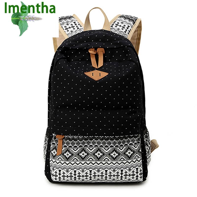 Korean Style Canvas Printing Backpack Women School Bags for Teenage Girls Cute Rucksack Vintage Laptop Backpacks Female new printing pu leather backpack women shoulder rucksack university bags for teenage girls designer brand korean femme