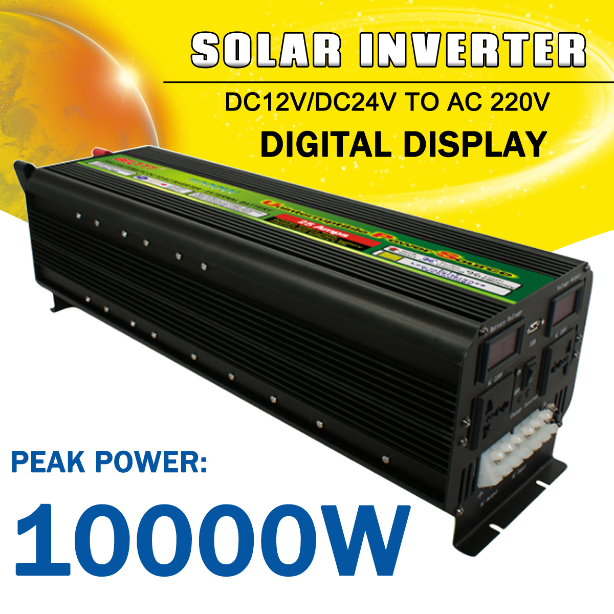 Solar Power Inverter 10000W Max DC 12V/24V to AC 220V LCD Display Modified Sine Wave Converter Car Adapter Charge for Home Auto