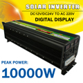 Zonne-energie Omvormer 10000 W Max DC 12 V/24 V naar AC 220 V LCD Display Gemodificeerde Sinus wave Converter Auto Adapter Charge voor Thuis Auto