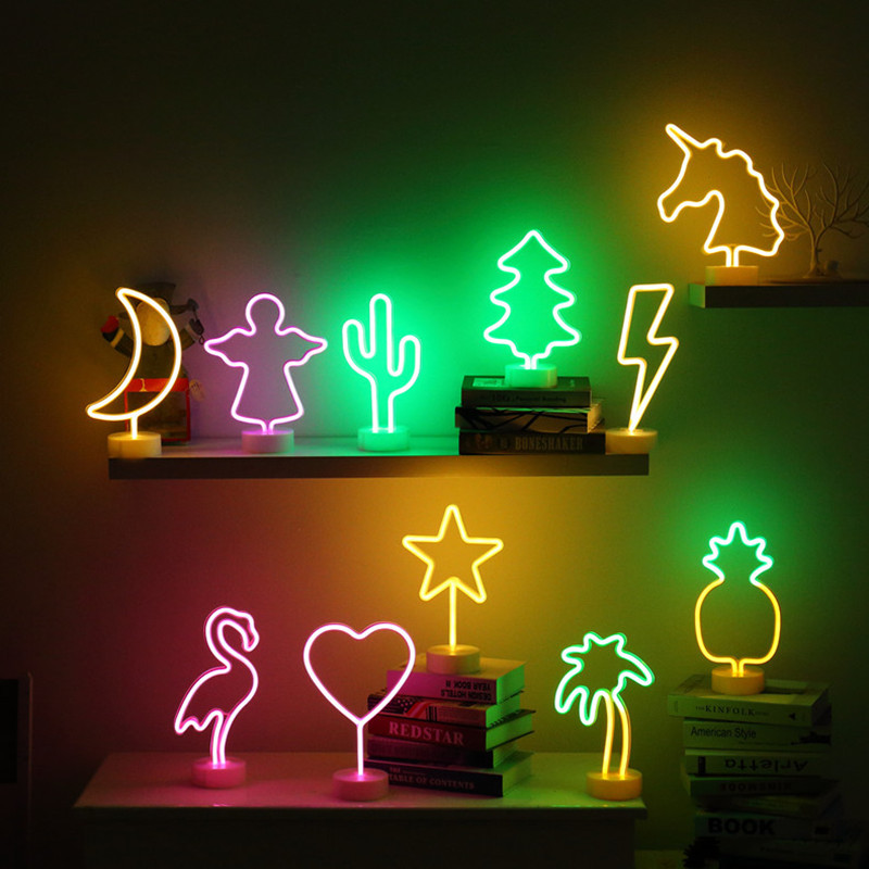 LED Neon Night Light Flamingo/Cactus/Moon/ Star/Heart 3D Marquee Table Lamp for Home Festival baby room Decor Lamp Kid Gifts 3d led lamp usb night love heart