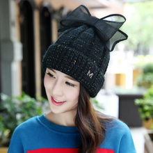 2017 oZyc new thin section  elegant ear cap with a bow Knitting  beanies Cute girls knit hat