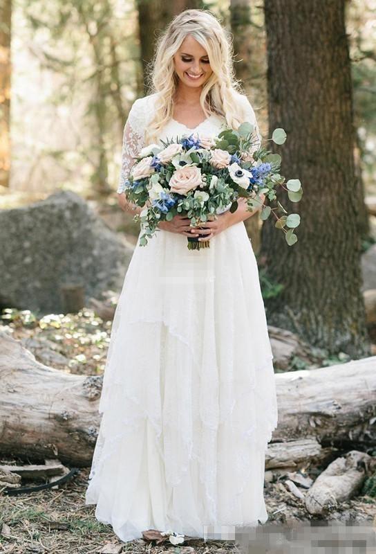 Western Country Wedding Dresses Lace Chiffon Modest V Neck
