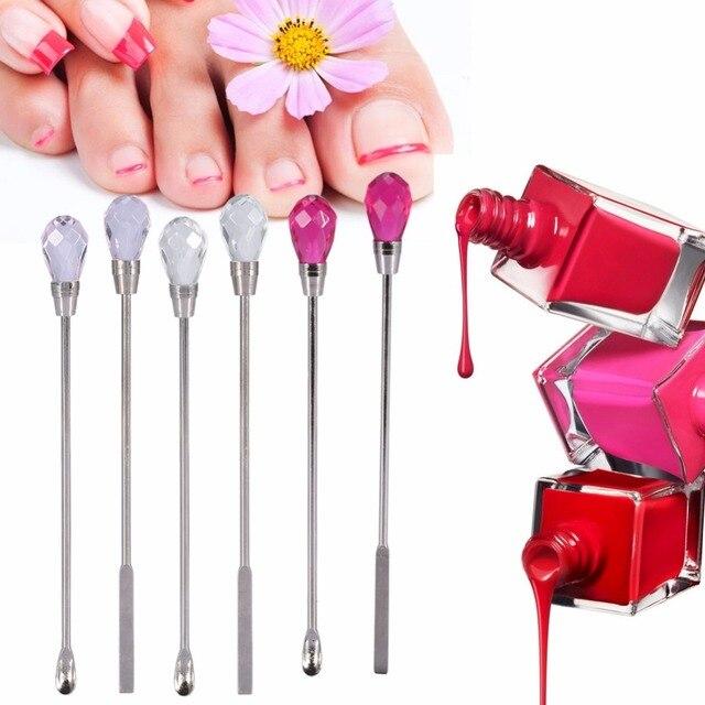 2Pcs Nail Art Spatula Stainless Steel Nail Gel Pollish Mixing Stirring Rod+Spoon Stick Acrylic Gel Powder Mixer Nail Art Tool