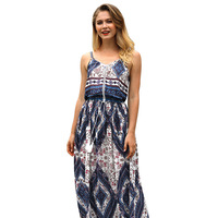 Women's Printed Dress 2018 Dress Summer New Vintage Printed Backless Holiday Dress