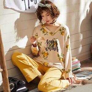 Image 3 - طقم بيجاما نسائي قطني طويل من BZEL قميص نوم نسائي برقبة على شكل حرف v + بنطلون ملابس نوم للسيدات طقم ملابس داخلية مكون من قطعتين