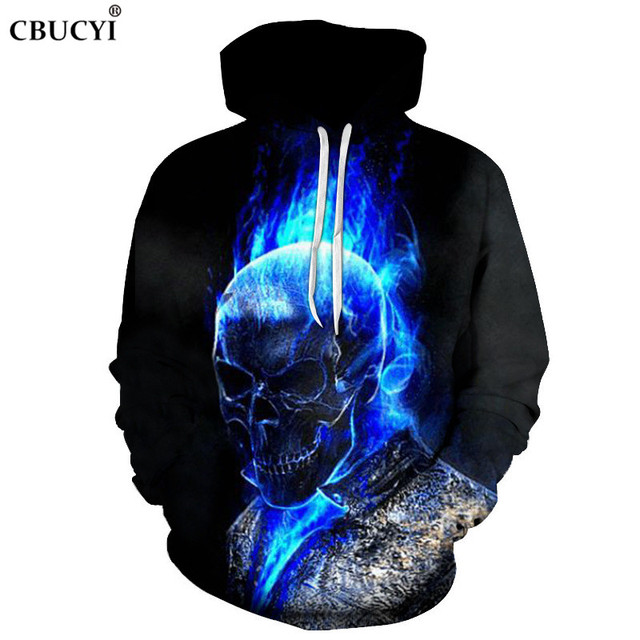 The latest blue skull print men's 3D hoodie fashion casual men's sweatshirt hip hop pocket hoodie, ahegao hoodie size 6XL CBUCYI